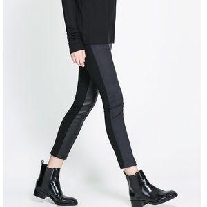 ZARA Black Faux Vegan Leather & Suede Leggings L